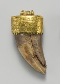 Tooth pendant set in gold. Period: Late Classical. Date: 4th century B.C. Culture: Etruscan. Medium: Gold, bone.