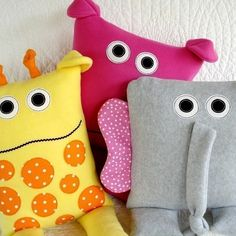Giraffe, Elephant & Hippo Pillows Pattern by Precious Patterns.  Could be turned into monsters!