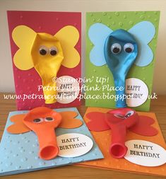 Petra's CraftInk Place: Elephant Balloon Birthday Cards Petra's CraftInk Place: Birthday Cards with Elephant Balloons Simple Birthday Cards, Homemade Birthday Cards, Kids Birthday Cards, Diy Birthday, Homemade Cards, Daycare Crafts, Crafts For Kids, Elephant Balloon, Elephant Crafts