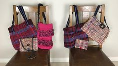 Handbags from fabric woven on a rigid heddle loom.