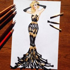How to Draw a Fashionable Dress - Drawing On Demand Fashion Design Drawings, Fashion Sketches, Art Sketches, Art Drawings, Drawing Fashion, 3d Sketch, Fashion Sketchbook, Collage Kunst, Arte Fashion
