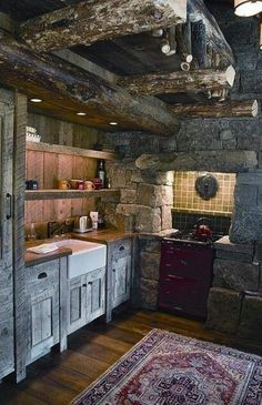 Rustic log cabin kitchen - so charming