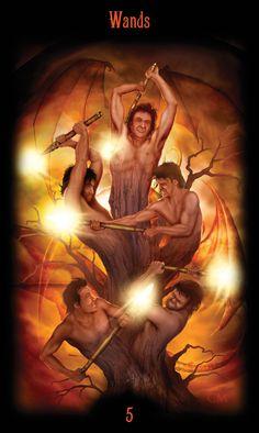 5 de bâtons - Legacy of the Divine Tarot par Ciro Marchetti
