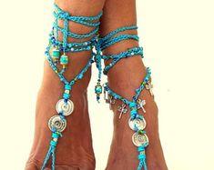Nero sandali a piedi nudi Barefoot Beach Gioielli scarpa