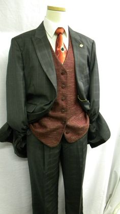 $179.99 Stacy Adams Mens Charcoal Gray Window Reversible Vested High Fashion Suit 3751-121