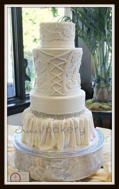 Irene's Bakery - El-Paso-area Cakes - White-fondant corsage inspired wedding cake