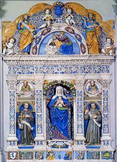 Giovanni della Robbia, Sant'Anna presenta l'Immacolata, tra i SS. Francesco e Antonio da Oadova, 1517 (o 1514). Poggibonsi, San Lucchese  #TuscanyAgriturismoGiratola