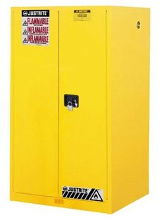 Justrite 60 Gallon Yellow Sure-Grip EX 18 Gauge Cold Rolled Steel Safety Cabinet With Manual Close Doors And Shelves (For Flammables) Can Storage, Garage Storage, Locker Storage, Cold Rolled, Paint Finishes, Storage Cabinets, Adjustable Shelving, Home Organization, Storage Solutions