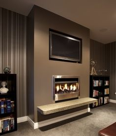 Brown Feature Wall Teamed With Stripped Wallpaper Gives A Great Effect Lounge Colour Schemes