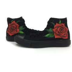 All Black Women's Converse Shoes Rose Hand Painted All Star Canvas... ($102) ❤ liked on Polyvore featuring shoes, sneakers, plimsoll shoes, black sneakers, star shoes, kohl shoes and converse trainers