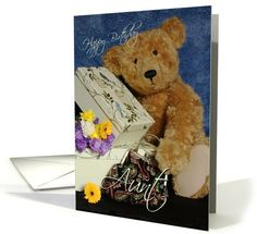 Aunt Birthday Card with cute Bear boxes purse and flowers card