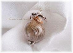 Pendentif Bulle de soie - Shibori silk ribbon