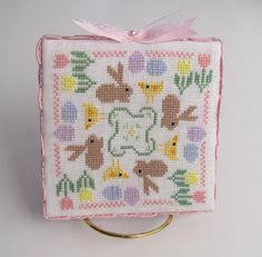 LOVE THAT YELLOW CHICK AND HOW PERFECTLY IT'S FINISHED. Completed Floss Box Easter or Spring Bunny by CanyonsideNeedlework