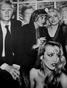 Andy Warhol, Jerry Hall and Debbie Harry at Studio 54, c. 1977