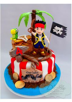 Jake and the Never Land Pirates cake. Jake y los Piratas de Nunca Jamás. Jake und die Nimmerland-Piraten. Jake et les Pirates du Pays imaginaire.