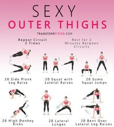 A great workout blast filled with outer thigh exercises to develop your sexy legs and glutes! Read the post for descriptions for all of the exercises! Hip Workout, Workout Videos, Leg Workouts, Back Of Thigh Workout, Thunder Thigh Workout, Workout Kettlebell, Thigh Exercises, Exercises For Outer Thighs, Fitness Exercises