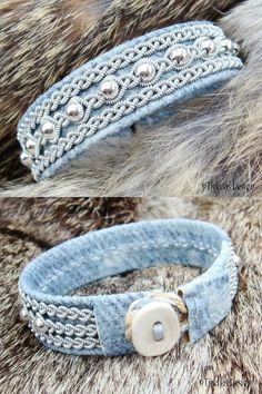 awesome Denim Leather Swedish Lapland Bracelet Cuff YDUN Nordic Viking Jewelry with Sterling Silver Beads - Custom Handmade Tribal EleganceToys can be fantastic aids in keeping your pet dog entertained even when no one else is around to play with the Bracelet Denim, Denim Earrings, Fabric Bracelets, Cuff Bracelets, Zipper Bracelet, Couple Bracelets, Pearl Necklaces, Pandora Bracelets, Drop Earrings