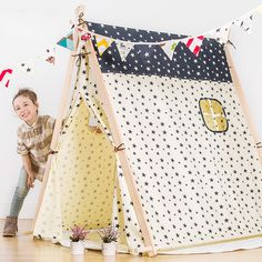 Cheap cloth tent, Buy Quality wooden teepee directly from China children tent Suppliers: children's large toy house tent cotton cloth tents, children tents wooden structure tents easy unpick and wash wood teepee