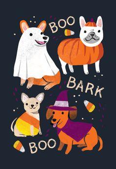 Halloween Illustration, Halloween Drawings, Halloween Prints, Halloween Stickers, Kawaii Halloween, Halloween Inspo, Dog Halloween, Vintage Halloween, Illustrations