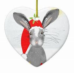 shop cute bunny rabbit christmas holiday theme ceramic ornament created by flissitations