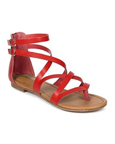 cf13555afd4 Breckelles CE23 Women Leatherette Cross Strappy Flat Gladiator Thong Sandal  Cherry Size 60     You can get more details by clicking on the image.