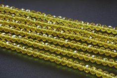 8x6MM Yellow Crystal Beads by TwinBeadsLLC on Etsy