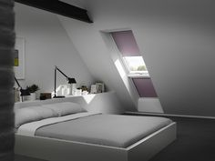 our bedroom - window next to balcony Attic Bedrooms, Bedroom Windows, Minimalist House Design, Minimalist Home, Roof Window, Loft Room, Loft Spaces, Bed Furniture, Home Projects