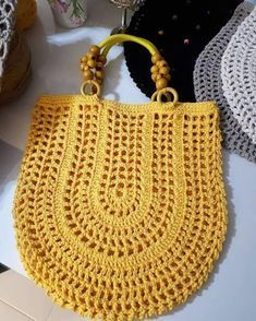"""New Cheap Bags. The location where building and construction meets style, beaded crochet is the act of using beads to decorate crocheted products. """"Crochet"""" is derived fro Crochet Shell Stitch, Bead Crochet, Crochet Stitches, Love Crochet, Crochet Handbags, Crochet Purses, Purse Patterns, Knit Patterns, Crochet Market Bag"""