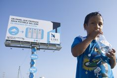 A billboard that makes filtered, drinkable water using humidity, gravity, and a little electricity.  Amazing!!!