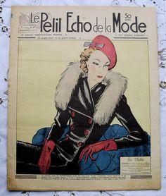 Vintage 1930's French Art Deco Fashion Magazine - Petit Echo de La Mode 'Visiting'. $12.00, via Etsy.