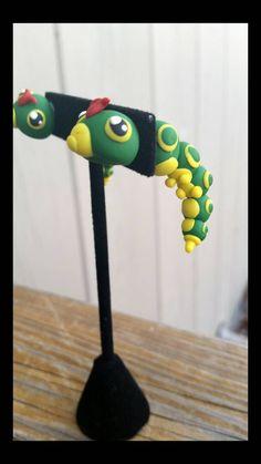 Caterpie pokemon earrings fake plugs by AFKforCosplay on Etsy