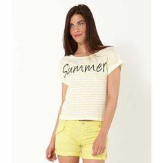 1d2fd3ffcd3 Camaïeu - T-shirt femme cropped - TMARINIERE BLANC JAUNE