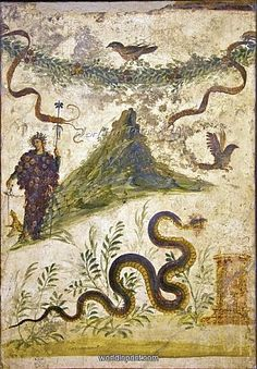 Bacchus And Vesuvius, Roman Fresco Canvas Print / Canvas Art by Sheila Terry