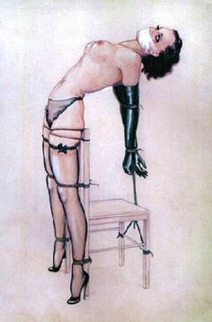 Chairtied_BDSM_painting by John Willie
