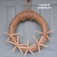 Summer Wreath- Starfish Wreath hang-it-wreaths Diy Home Decor Easy, Diy Home Decor Projects, Handmade Home Decor, Unique Home Decor, Cheap Home Decor, Easy Diy, Decor Ideas, Decorating Ideas, Craft Ideas