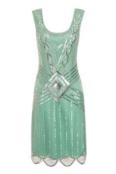 Mint Sequin Charleston Flapper UK 10 Gatsby Dress 20's Art Deco Green | eBay