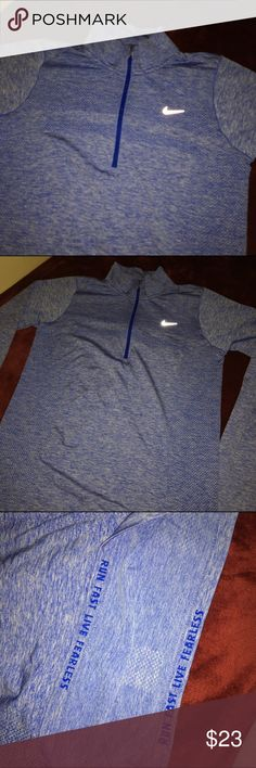 Nike half zip sweater Blue half zip running top, light material , I only used it once so it's basically new , it says large but it'd also fit medium                                            •I'm open to offers/trades🆒.                                    •bundle 3 items and get 10% off ✅ Nike Sweaters
