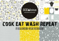 "NEW paper collection from SODAlicious ""COOK EAT WASH REPEAT"" ♥ hello spring 2014!"