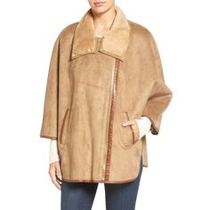 Women's Ellen Tracy Faux Shearling Cape (195 CHF) ❤ liked on Polyvore featuring outerwear, camel, ellen tracy cape, cape coat, camel cape, camel cape coats and ellen tracy