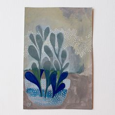 Blue plant - Gouache sur papier aquarelle 300g/m2- 15 x 10 cmOeuvre originale, signée, non…
