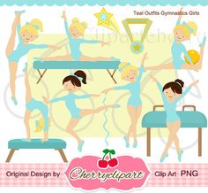 Teal outfits Gymnastics Girls digital clipart set