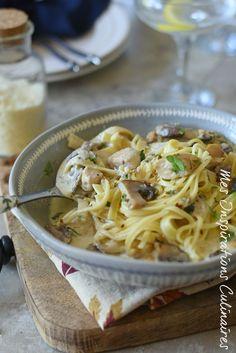 Recette Tagliatelles de poulet et sauce aux champignons