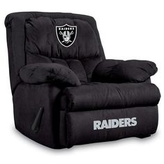 Oakland Raiders NFL Home Team Microfiber Rocker Recliner - Sports Fans Plus