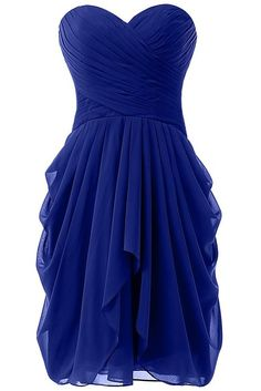 HONGFUYU Women's Ruched Evening Party Bridesmaid Dress Short Prom Dresses Royal Blue UK16