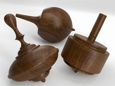 Walnut Spinning Top Set