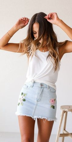 #summer #outfits  White Tank + Floral Denim Skirt
