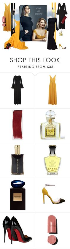 """""""Looks are Deceiving"""" by thegypsyguild ❤ liked on Polyvore featuring Kalmanovich, Saloni, Gucci, Guerlain, Estée Lauder, Creed, Giorgio Armani, Christian Louboutin and Chanel"""
