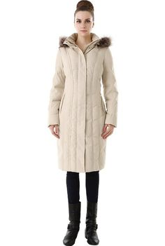 "BGSD Signature Women's ""Felicia"" Hooded Long Puffer Down Coat - Beige S"
