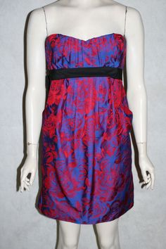 SZ 8 - BCBG Max Azria strapless dress red blue cocktail size tie bubble empire #BCBGMAXAZRIA #Bubble #Cocktail designer clothes for cheap! #bcbg #victoriassecret #pink #cache #highlow #dress #heels #stilettos #designer #betseyjohnson #whitehouseblackmarket #NEW #trendy #prom #formal #homecoming #cocktail #ball #balls #designer