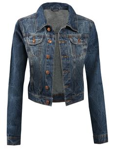 LE3NO Womens Classic Cropped Denim Jean Jacket ($34) found on ...